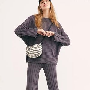 FREE PEOPLE Small Woven Striped Crossbody Bag